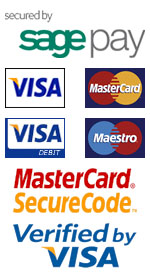Secured by Sagepay, Credit Cards accpted are Visa, Mastercard, Visa Debit and Maestro