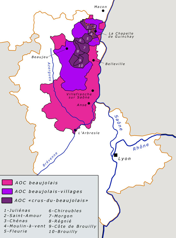 Map of Beajolais Wine Regions AOC