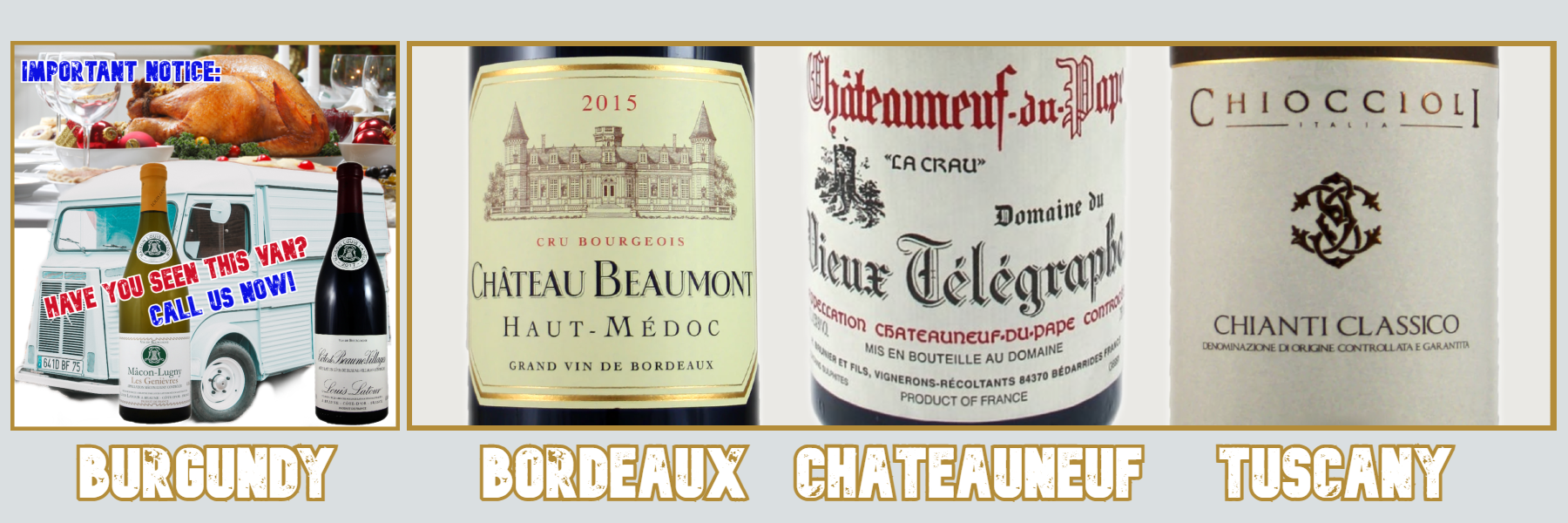 It's not only Burgundy for Christmas - Try Bordeaux, Chateauneuf-du-Pape & Chianti Classico