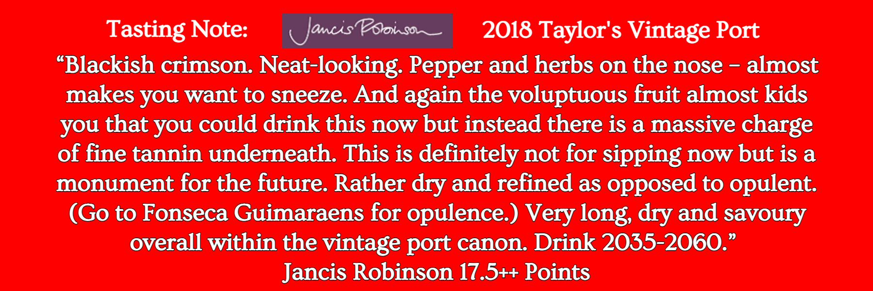Jancis Robinson Tasting Note 2018 Taylor's Vintage Port