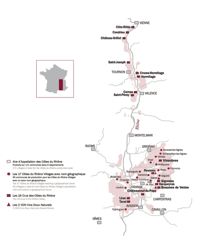 Map of Rhône Wine regions